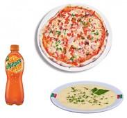 Комбо Стандарт пицца на тонком тесте+суп+напиток (газировка 0,5/чай(кофе) 0,3